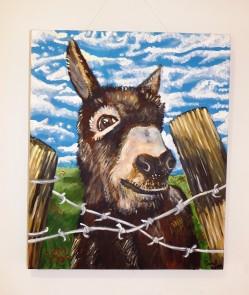 Donkey Over Fence Acrylic on Canvas 20x24 €220
