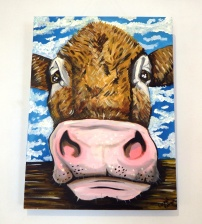 Cow over the Fence Acrylic on Canvas €230 SOLD