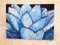 Blue Lotus Acrylic on canvas 16x12 SOLD