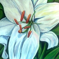 Jennifers Lily 30x30 acrylic on Canvas SOLD