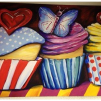 My Sweet Cupcakes Acrylic on Canvas 20x24 SOLD