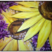 Martins Sunflowers Acrylic on Canvas SOLD