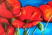 Poppies & Blue Sky Acrylic on Canvas
