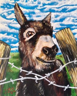 Donkey Over Fence Acrylic on Canvas 20x24 €350