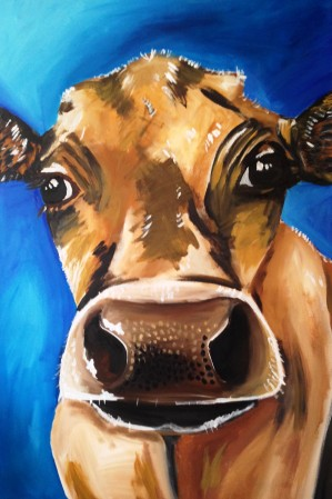Brown Cow Acyrlic on Canvas 20x30 €350