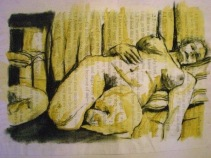 Study over script, charcoal and watercolour
