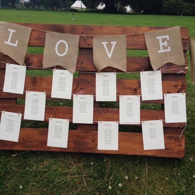 Table plan 'LOVE'