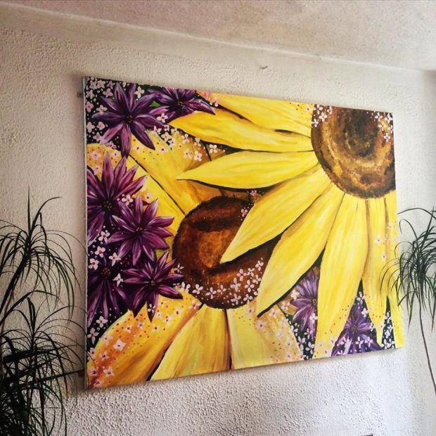 View of old sunflower painting I did for Dad. HUGE